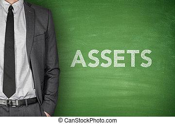 Assets text on blackboard - Assets text on green blackboard...