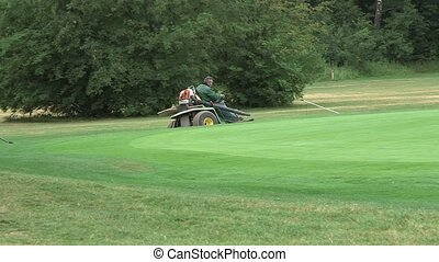 man mows the lawn at the golf course - a man driving a mower...