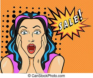 Woman with Sale sign. Vector Illustration in pop art style