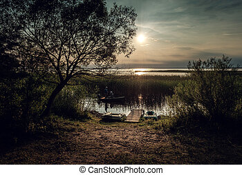 Sunset on the lake. Lake Naroch, Belarus.