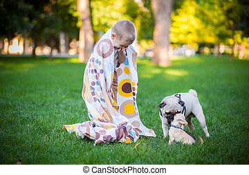 little boy playing with the dog on grass