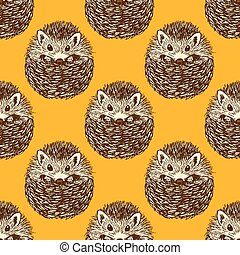 Sketch cute hedgehog in vintage style, vector seamless...