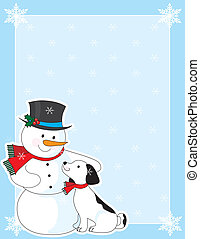 Snowman Background - A border or frame featuring a snowman...