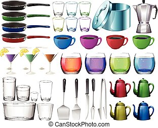 Kitchenware set with glasses illustration