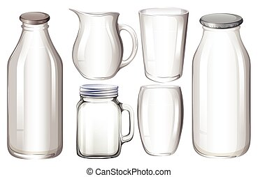 Glass containers - Set of glass containers with no label