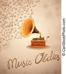 Gramophone and recorder with music notes background