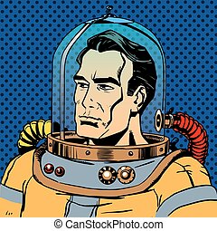 Manly man astronaut in a spacesuit. Retro style star...