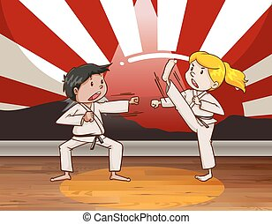 Children fighting martial arts illustration