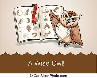 Wise owl and science book illustration