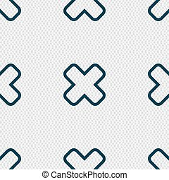 Cancel icon sign Seamless pattern with geometric texture...