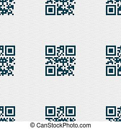 Qr code icon sign. Seamless pattern with geometric texture. Vector