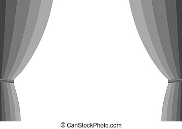 Grey curtain opened on a white background. Simple flat...