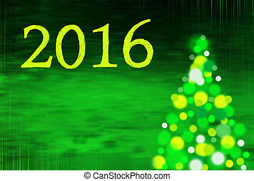 new year background with christmas tree and writing 2016 -...