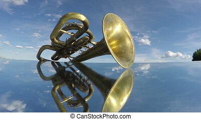 antique musical wind instrument - antique musical wind brass...