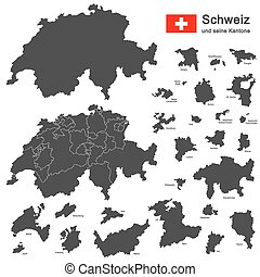 country Switzerland - silhouettes of country Switzerland and...