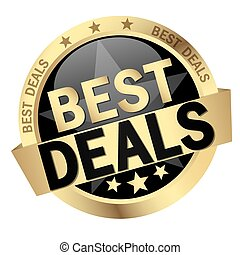 button with text Best Deals - round button with banner and...
