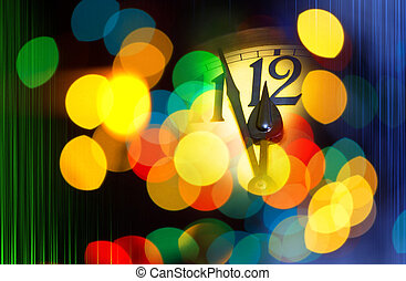 new year clock with text 2016 - face of new year clock with...
