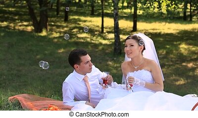 Bridal Picnic - Bride and groom on a picnic