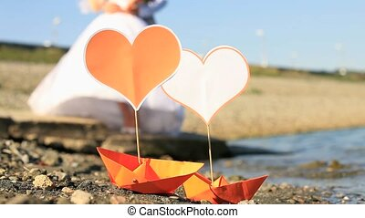 Love Boats - Origami boats with paper hearts on it