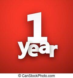 one year paper sign. - one year paper sign over red. Vector...
