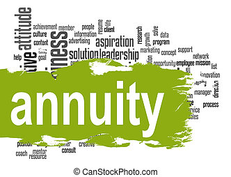 Annuity word cloud with green banner image with hi-res...