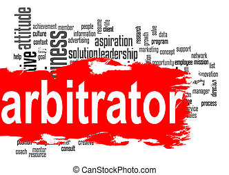 Arbitrator word cloud with red banner image with hi-res...