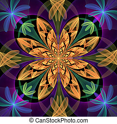 Fabulous symmetrical pattern of the petals. Blue and beige...