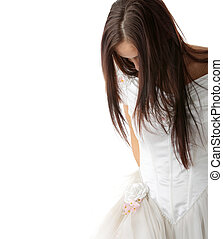 Wedding dress - Bride dressing up her wedding dress on nude...
