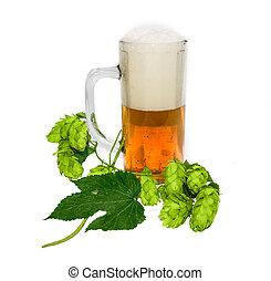 Mug of beer and branch of hops - Mug with beer and branch of...