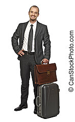 young business man travel isolated on white background