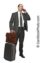 business man travel and use mobile isolated on white...