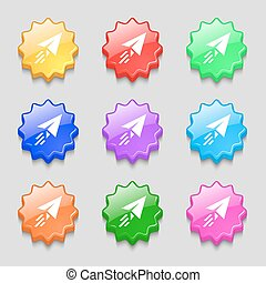 Paper airplane icon sign. symbol on nine wavy colourful buttons. Vector
