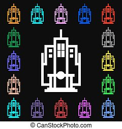 skyscraper icon sign. Lots of colorful symbols for your design. Vector