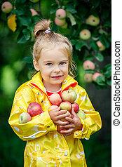 Little girl in the apple garden - Little girl holding apples...