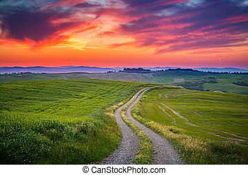 Tuscany sunset - Beautiful Tuscany landscape at sunset,...