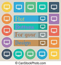 monitor icon sign. Set of twenty colored flat, round, square and rectangular buttons. Vector