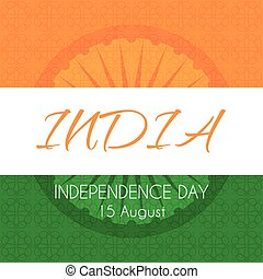 Card for Indian independence day with national tricolor background