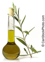 Olive oil with olive branch - Extra native olive oil in a...