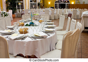 wedding reception - Tables set for a wedding reception