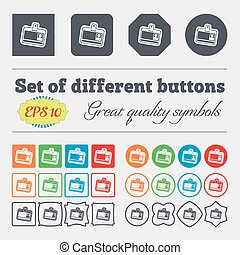 Id card icon sign. Big set of colorful, diverse, high-quality buttons. Vector