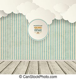 Vintage Striped Background With Clouds, Wooden Floor And...