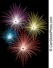 Fireworks - Colorful Fireworks on black background, vector...