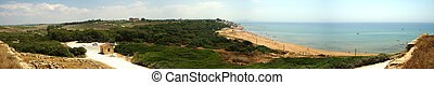 panoramic view of Selinunte with temple and beach. Sicily,...