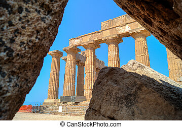 Temple E at Selinunte in Sicily framed on the ruins
