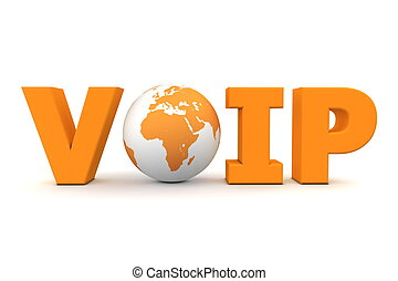 VoIP World Orange - orange word VoIP with 3D globe replacing...