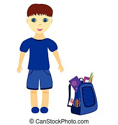 schoolboy with backpack, dressed in blue, vector...