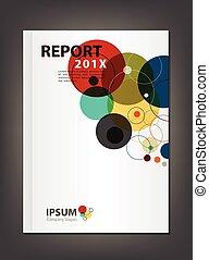 relatório, cobertura, modernos, desenho, anual