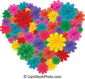 Flowers on heart - Love heart made from flowers, vector...