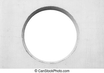 concrete wall with circular hole isolated on white