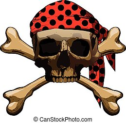 bones - Pirate symbol Jolly Roger with two crossbones...